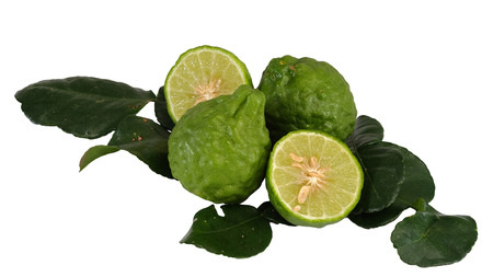 Kaffir lime, Bergamot Thai herb is various properties, with white isolated background