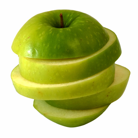 distort: slide green apple to step slice white isolate background Stock Photo