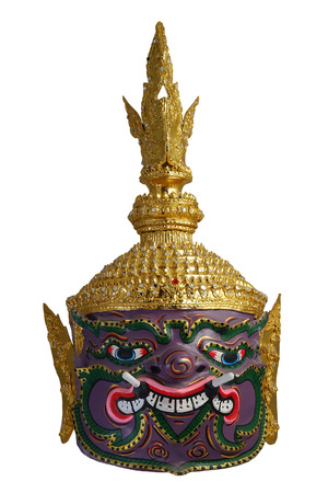 Thai Khon head mask in Puple Giant Face, called Maiyarap, The giant king of the underworld, with white isolated background Stock Photo