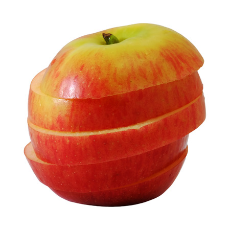 slide red apple to step slice white isolate background