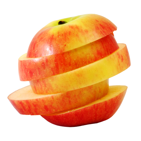 stature: slide red apple to step slice white isolate background