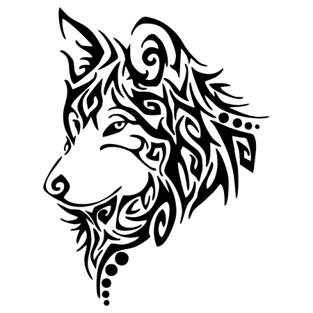 Zwarte wolf, wolven horen tribal tattoo vector Stock Illustratie