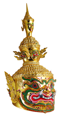 khon: Thai Khon mask head called Tossakan when in Golden face, Ramakian Story. White Isolated background Stock Photo