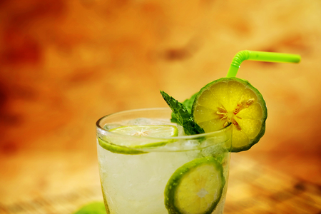 Kaffir lime, Bergamot soda Cool drink, Herb for Treatment of Acid Reflux, with Earth tone background Stock Photo