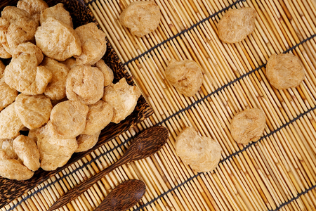 earth tone: chunk Textured Vegetable Protein for Vegetarian Festival with earth tone flat lay background