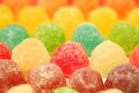 muchos colorido de gelatina de frutas en foco suave textura de fondo