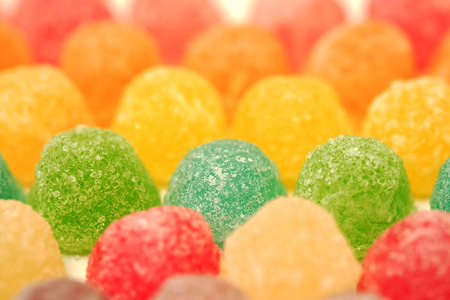 gelatina: many colorful fruit gelatin in soft focus texture background