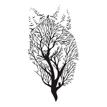 concealing: Wolf face blend tree drawing tattoo vector
