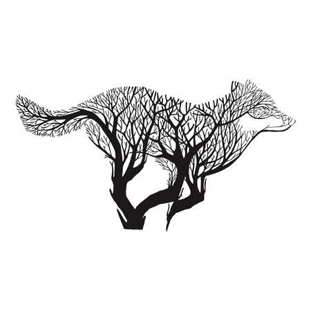 Wolf run blend tree drawing tattoo vector