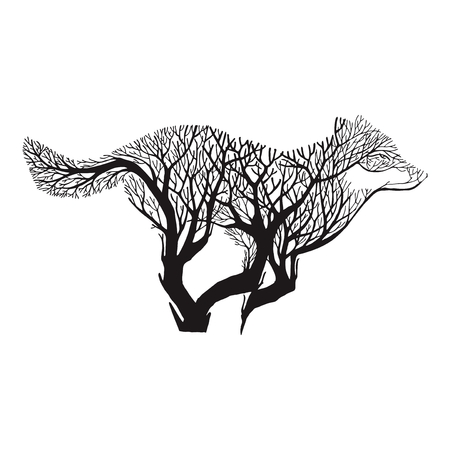 fur trees: Wolf run blend tree drawing tattoo vector