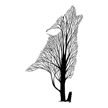 Lobo árbol cara mezcla de dibujo vectorial tatuaje