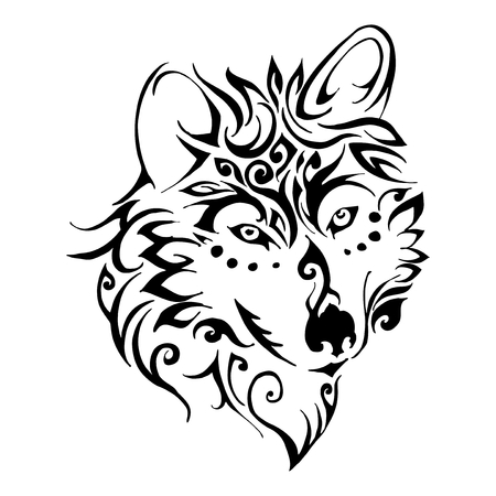 Wolf head tribal tattoo vector