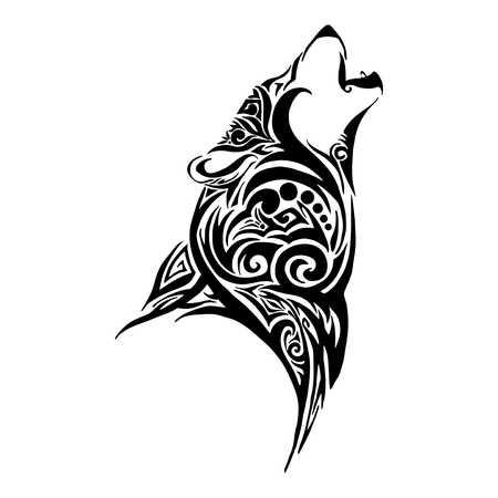Lobo aullido diseño de la cabeza para el vector tatuaje tribal