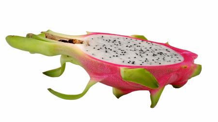 Pitaya or Dragon fruit Slice with White isolated Background