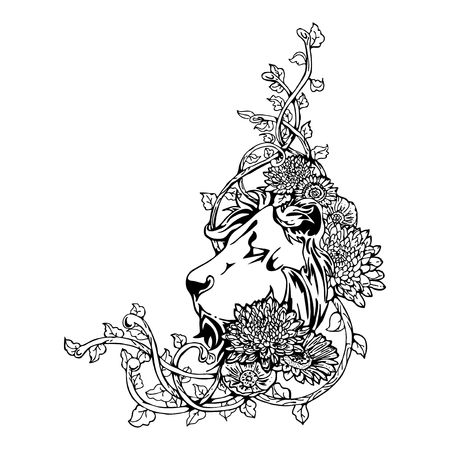 harbinger: King Lion head vintage drawing tattoo with white isolated vector