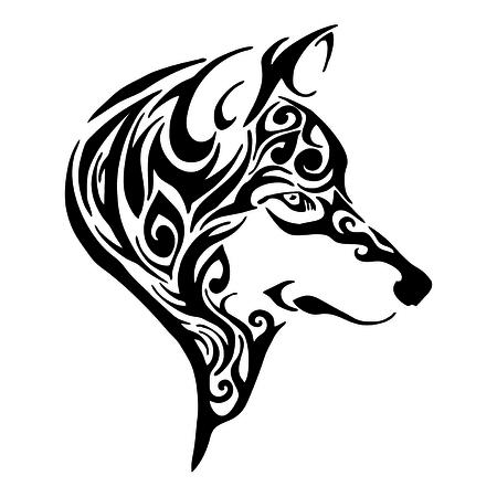 Schizzo di disegno tribale tatuaggio testa di lupo isolato Archivio Fotografico - 66538522