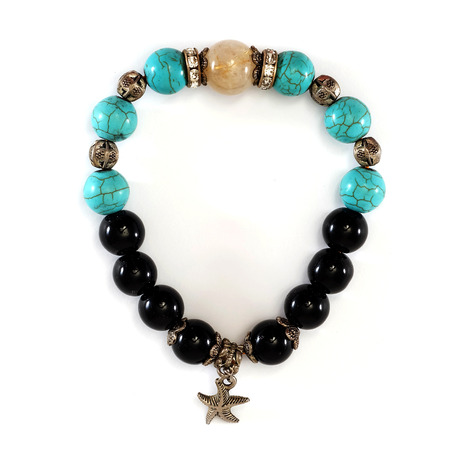 enchantment: Rutile Quartz, Turquoise, Black Spinel Lucky stone bracelet with withe isolated background Stock Photo