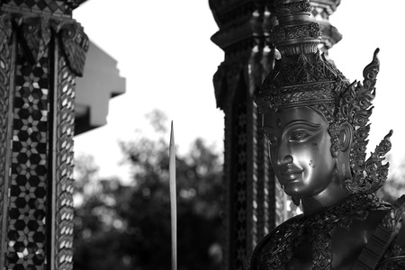 consecrated: Giant statue in modern Thai Style with back and white photography Technic