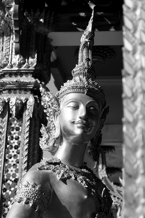 Giant statue in modern Thai Style with back and white photography Technic