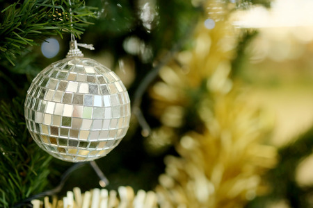 Mirror ball decorate hanging on green pine tree for happy Christmas festival Stock Photo