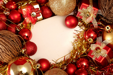 salutation: Christmas items in red and gold theme with white frame for write word to merry Christmas and Happy New Year