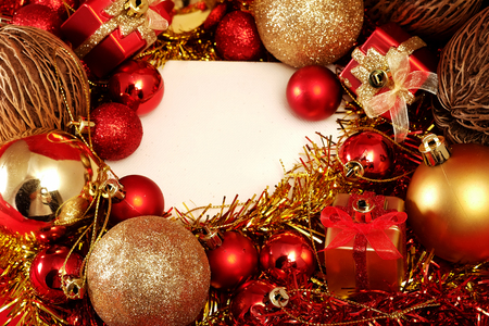 Christmas items in red and gold theme with white frame for write word to merry Christmas and Happy New Year