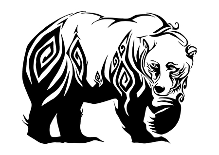 Silhouette ferocious bear walking tribal design for tribal tattoo vector