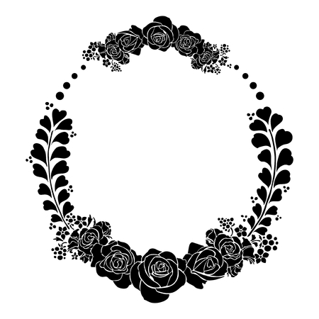 silhouette rose ink sketch drawing in circle frame vector tattoo