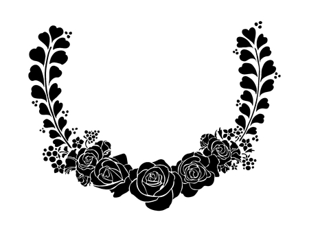 circumstantial: silhouette rose ink sketch drawing in semicircle frame vector tattoo Illustration
