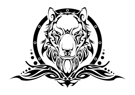 Wolf head symmetry balance tribal tattoo silhouette vector with white isolate background Illustration
