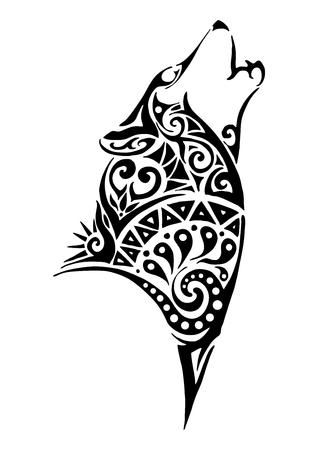 testa lamento disegno del tatuaggio tribale silhouette lupo per il braccio o la gamba vettore