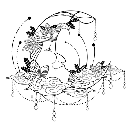 Sweet dream with The moon zentangle tattoo Ornament vector Illustration