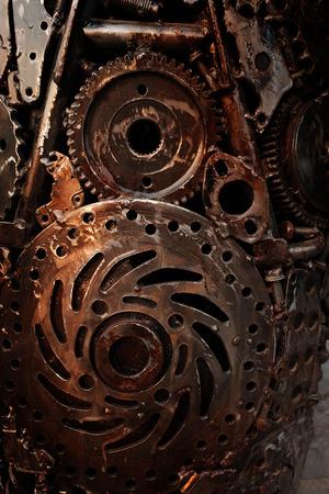 Recycle rough metal cogwheel texture background