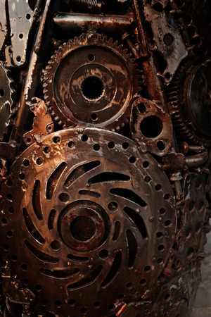 Recycle rough metal cogwheel texture background