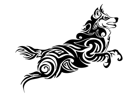 Leader wolf jumping tribal tattoo Silhouette isolate vector