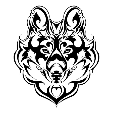 terrorize wolf head tribal tattoo Silhouette isolated vector
