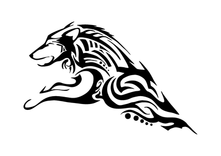 half body of aggressive wolf jumping tribal tattoo Silhouette isolated Illustration
