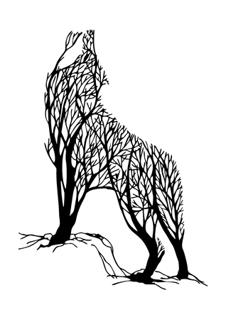 Mysterious aggressive Wolf howl silhouette double exposure blend tree drawing tattoo vector Illustration