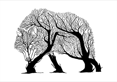Mysterious aggressive Wolf walking slowly and hunt silhouette double exposure blend tree drawing tattoo vector Ilustração