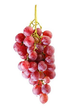 bunches of Summer fresh red grape with white isolate background Stock Photo