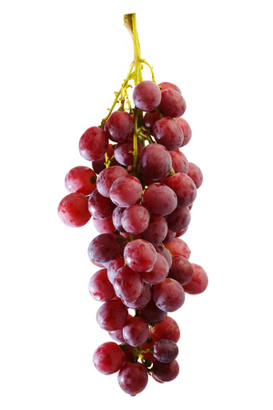 bunches: bunches of Summer fresh red grape with white isolate background Stock Photo
