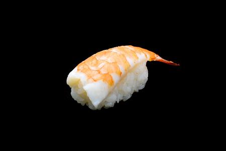 Ebi sushi, Japanese shrimp on Japanese rice.Japanese tradition food cuisine style with black isolated background Stock Photo