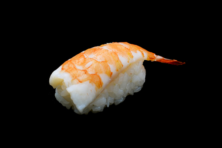 Ebi sushi, Japanese shrimp on Japanese rice.Japanese tradition food cuisine style with black isolated background Stock Photo