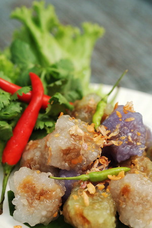 sago pork ball Thailand traditional dessert and appetizer cuisine served with chilly and lettuce.Have some space for write wording
