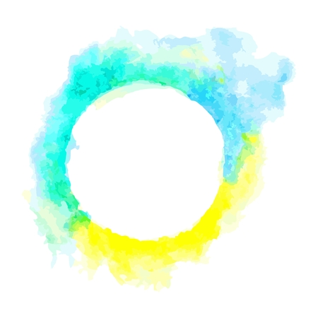 Abstract blue and yellow circle frame.