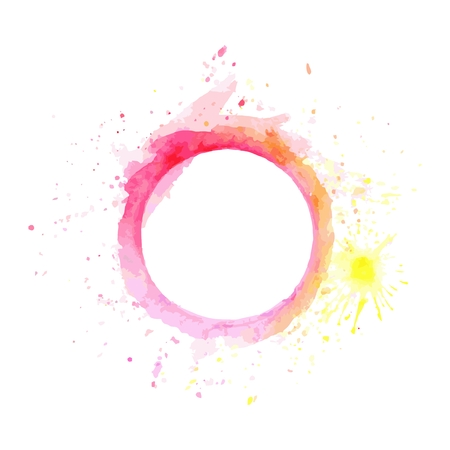 Abstract Pink and yellow tone circle frame paint Illustration
