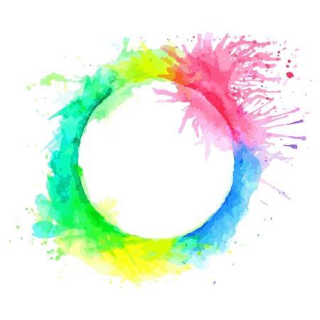Abstract colorful tone circle frame paint by watercolor and have some space for write wording with white isolated background