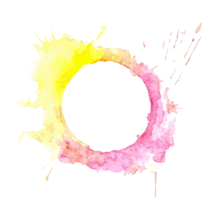 casing: Abstract Pink and yellow tone circle frame paint Illustration