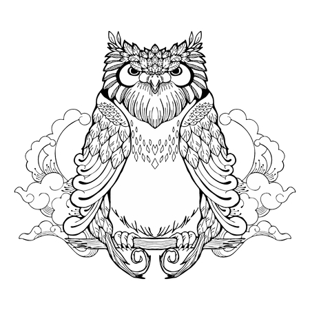 Owl and cloud tribal zen tangle tattoo with white isolated background.