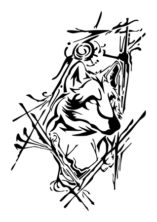 A silhouette wolf head design with ink splash  for tattoo vector